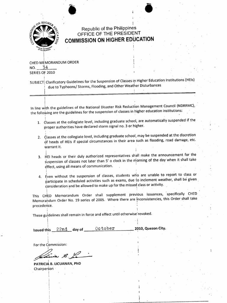 CHED Memorandum Order No  34 Series of 2010