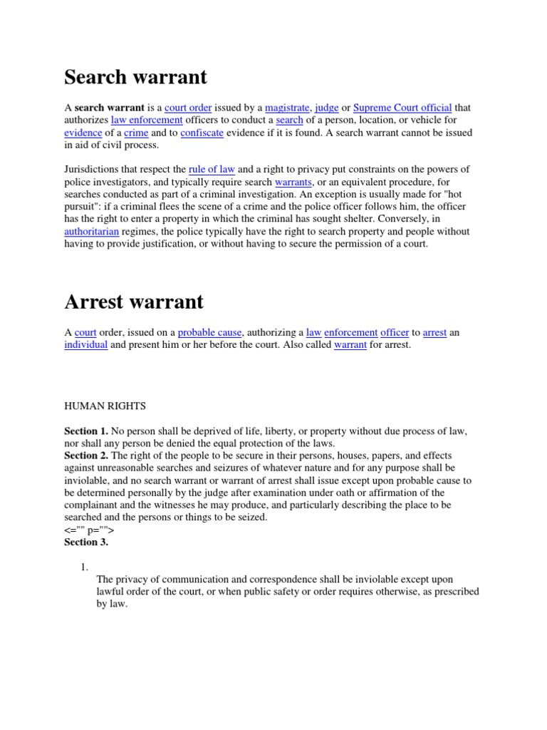 who authorizes a legal search warrant
