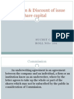 Commission & Discount of Issue Share Capital