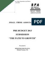 11 SFA Pre Budget 2013 Submission Final