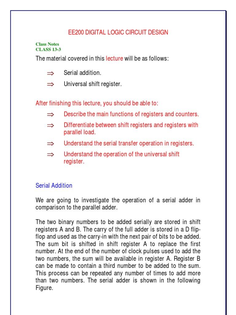Files 3 Handouts Lecture 31 Bit Electrical Circuits Shift Registers 74ls164