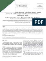 Methodology to Determine Antioxidant Capacity in Plant Foods
