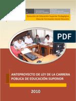Anteproyecto de La Carrera Publica de Educacion Superior(2010)