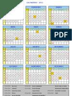 Calendario Feriados 2013 PT
