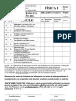Carátula, enunciados y resultados de Problemas de Física I