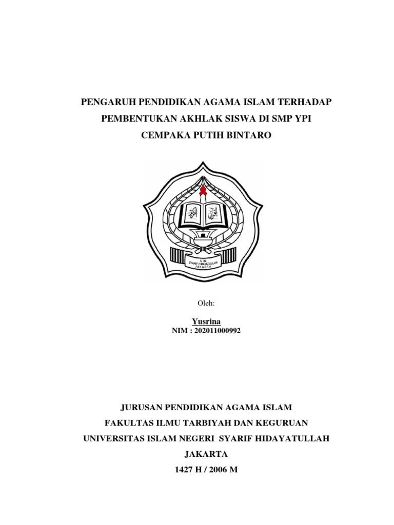 Contoh Proposal Skripsi Kualitatif Pendidikan Agama Islam