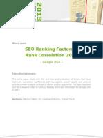 Google Ranking Factor Study 2013