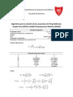 Algoritmo PRSV y RKSM (1) Factor de Compresibilidad