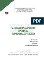 FACTORES DE LOCALIZACIÒN EN UNA INDUSTRIA DE ENSAMBLAJE DE VEHICULOS