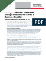 Storage Analytics Webtech Qa Session