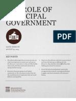 Role of Municipal Govt
