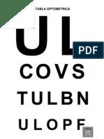 Tabla Optometrica Optica Zecchin