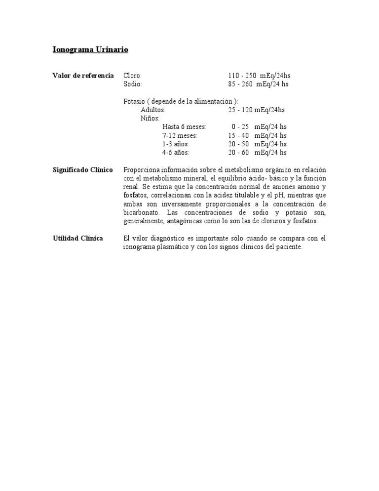 valores normales de cloro en niños