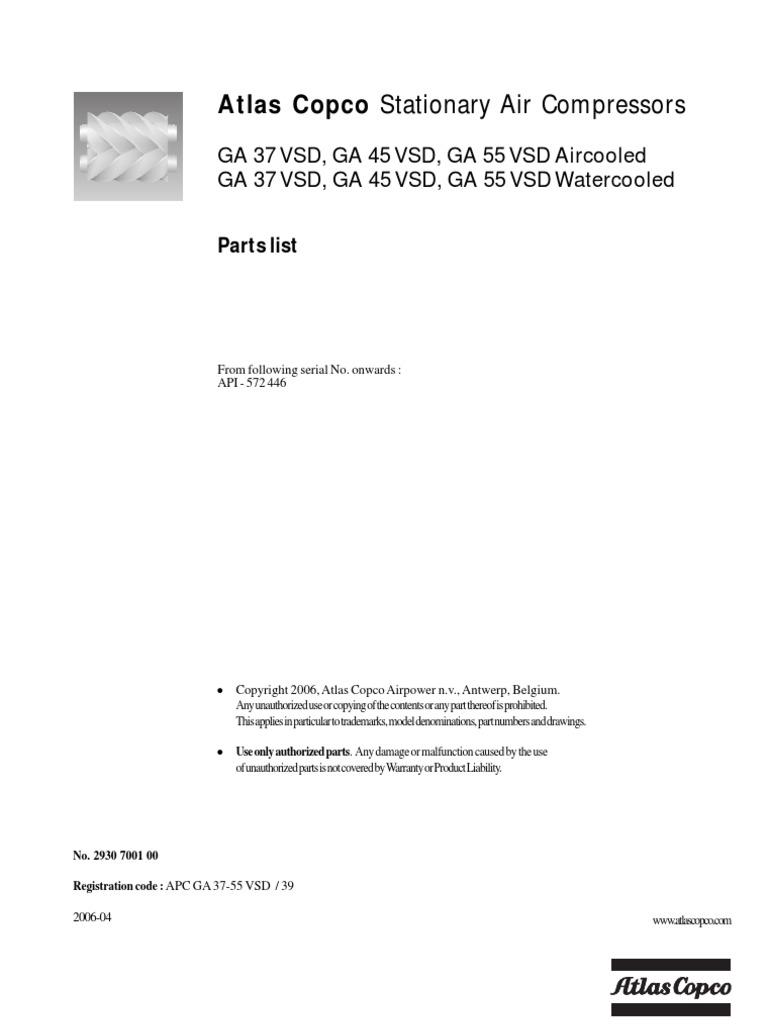 atlas copco ga 45vsd parts list rh es scribd com Atlas Copco Compressor Surging VPD Atlas Copco Compressor Surging VPD