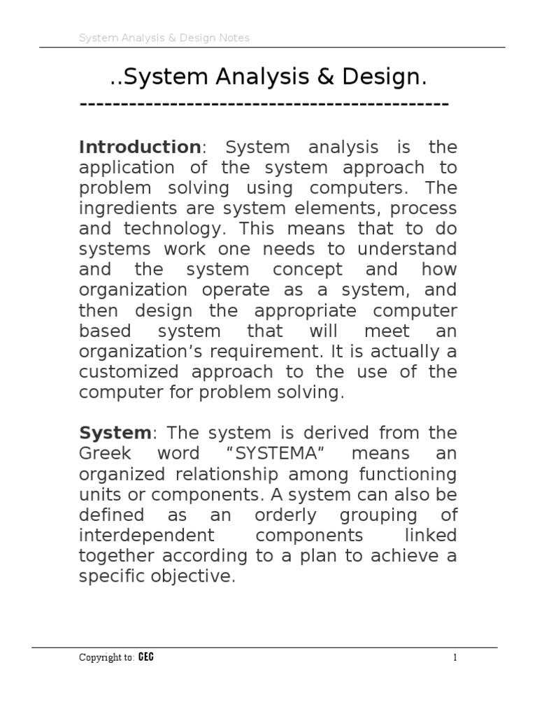 System Analysis And Design System Data Analysis