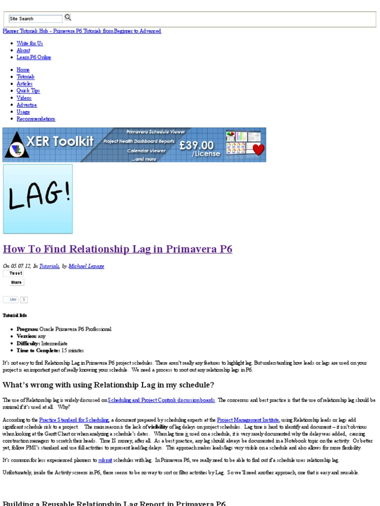 How to find relationship lag in primavera p6 lag microsoft excel nvjuhfo Gallery