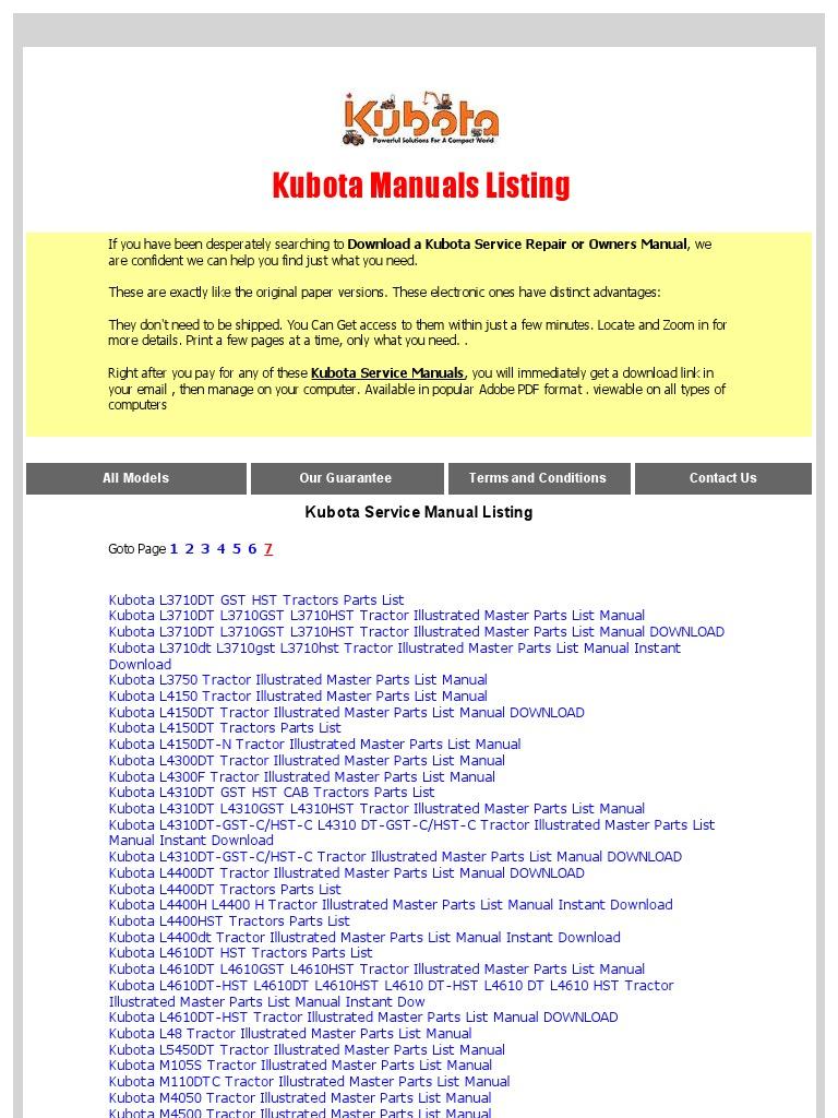 kubota service manual downloads