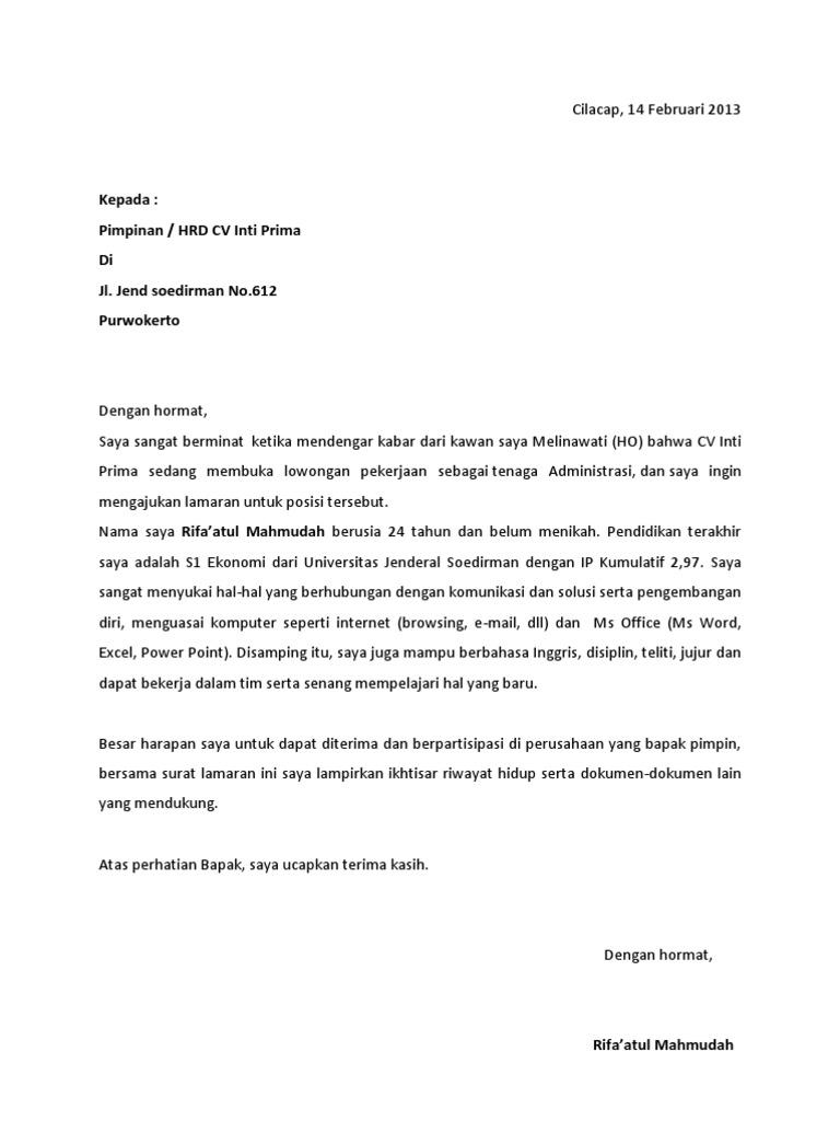 contoh surat lamaran kerja docx