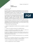 Carta a presidenta Michelle Bachelet