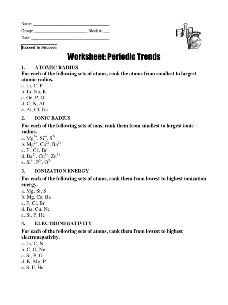 In Class Practice on Periodic Trends Ws | Ion | Ionic Bonding
