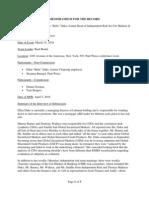 2010-03-18 FCIC Memo of Staff Interview With Ellen (Bebe) Duke, Citigroup