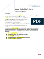 Special Uses of the Definite Article The