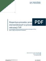 Ekspertyza Procedur Promocji Stanowiskowych w Procesie Rekrutacji TVP
