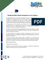 Alcaldía de Bello atiende emergencia en vía La Banca