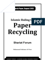 Islamic Ruling on Paper Recycling [Shariat Forum - Research Paper August 2013]