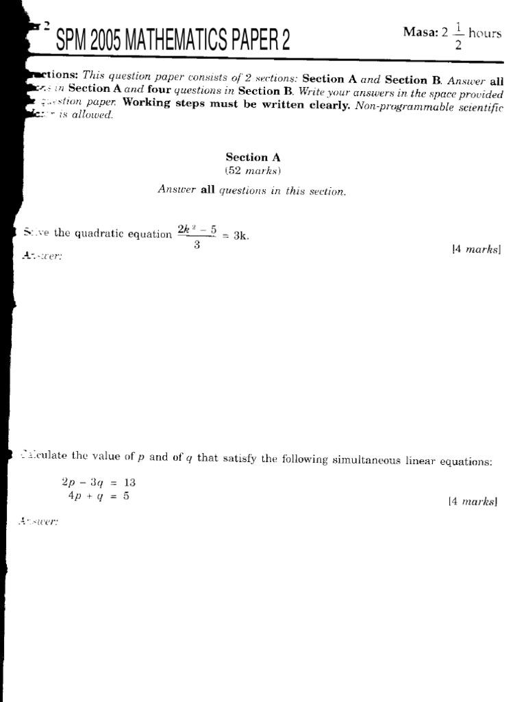 Spm Mathematics 2005 K2 Geometry Physics Mathematics