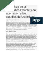 El Análisis de la Semántica Latente y su aportación a los estudios de Usabilidad
