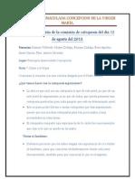 Acta de la reunión de la comisión de catequesis del día 12 de agosto del 2013
