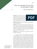 BRITO, Paulo. Para uma tipologia do verso livre em português e inglês