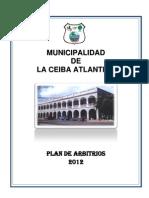 Plan de Arbitrios La Ceiba 2012
