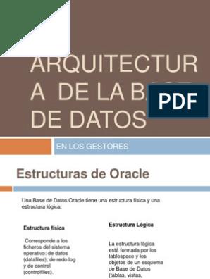 Arquitectura De La Base De Datos Bases De Datos