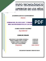 UNIDAD 3. Paneación y programación del mantenimiento de las empresas