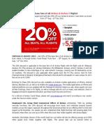 20% off base fare of all AirAsia & AirAsia X flights!