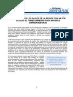 ASBANC SEMANAL Nº 77 (19.08.2013) - Perú es uno de los países de la región con mejor acceso al financiamiento para mujeres emprendedoras