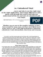Cast vs. Calendered Vinyl