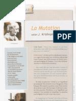 La mutation selon J. Krishnamurti