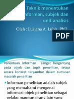 Teknik menentukan informan, subjek dan unit analisis MPK II 2012.pptx