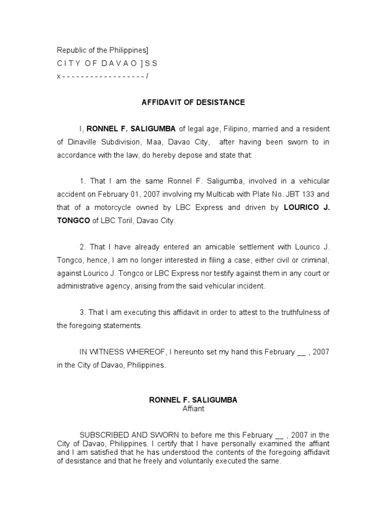 affidavit of desistance Affidavit of desistance - download as word doc (doc), pdf file (pdf), text file (txt) or read online legal forms.