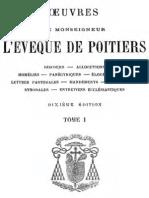 OEuvres de Monseigneur l Eveque de Poitiers (Tome 1)