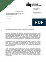 Antwortbrief an Sabine Leutheuser-Schnarrenberger