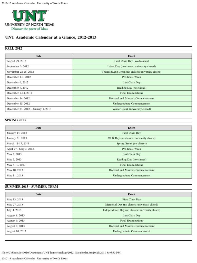 Brief Calendar 2012 2013 For Web Academic Term Computing