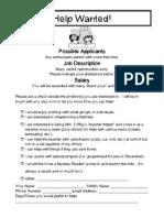 Volunteer Sheet