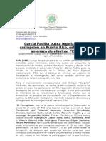 García Padilla busca legalizar la corrupción