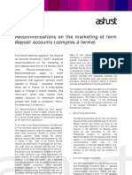 Recommendations on the marketing of term  deposit accounts