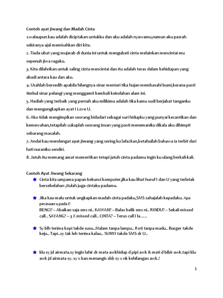 Contoh Ayat Jiwang Dan Madah Cinta Docx
