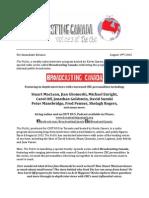 broadcasting canada - press release
